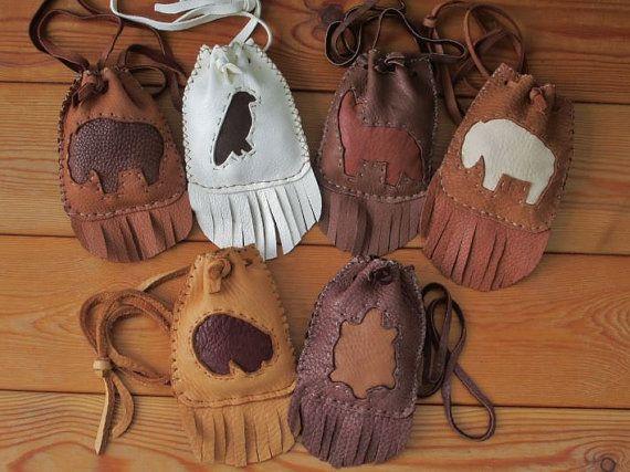 Custom Animal Spirit Totem Medicine Bags Handmade and for sale by FolkOfTheWood on Etsy.  $25.00
