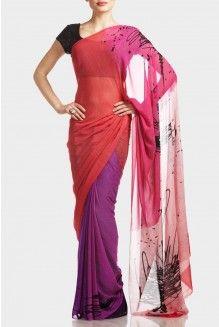 satya paul-Pink Ombre Screen-print Saree