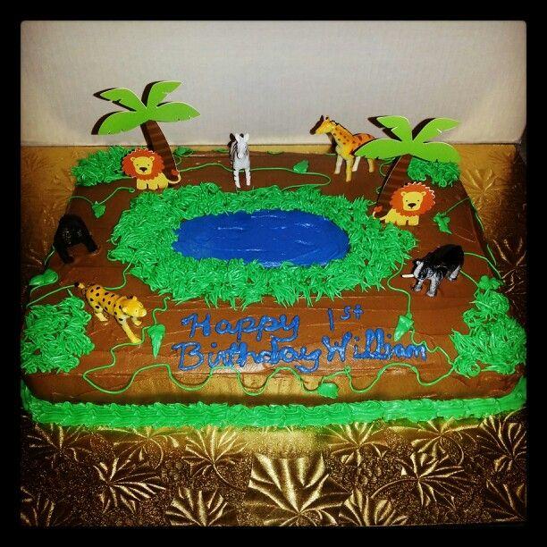 Jungle theme cake with chocolate and banana cake inside by me!