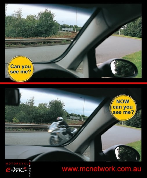 Shows how easy it is to not see someone or something in your blind spot!