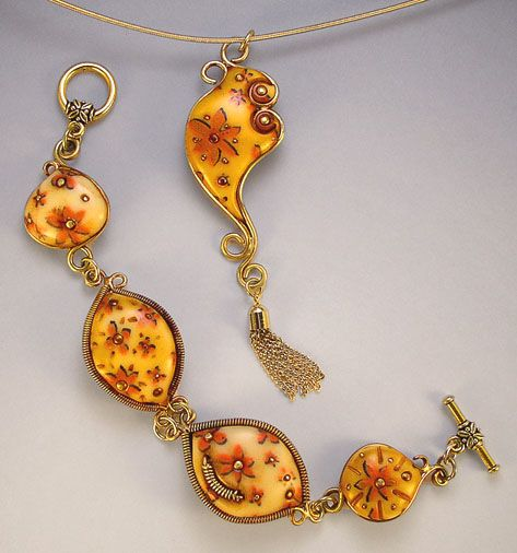 129 best polymer clay mokume gane images on pinterest fimo clay gorgeous clay bracelet and pendant set i think there is a wire running through the bezeled pieces aloadofball Gallery