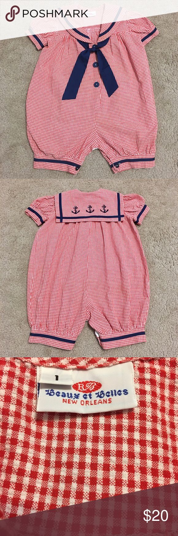 """Beaux et Belles Sailor Outfit Perfect for the 4th of July! SO cute! Size 1. Looks to run large to me. Shoulder to stride is 20"""". EUC. Smoke/pet free home. Beaux et Belles One Pieces"""