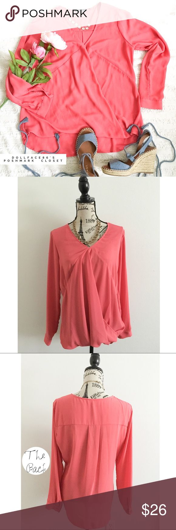 """Anthro Ro+De Coral Pink Surplice Top ✦   ✦{I am not a professional photographer, actual color of item may vary ➾slightly from pics}  ❥chest:20.5"""" ❥waist:22"""" ❥length:26"""" ❥sleeves:24""""  ➳material/care:tag cut feels like polyester light & breathable, no stretch  ➳fit:true  ➳condition:gently used   ✦20% off bundles of 3/more items ✦No Trades  ✦NO HOLDS ✦No transactions outside Poshmark  ✦No lowball offers/sales are final Anthropologie Tops Blouses"""