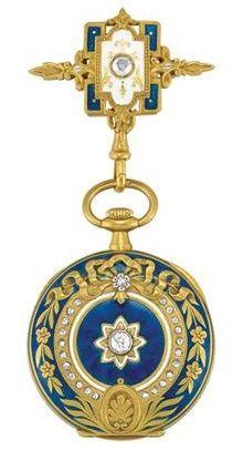 Antique Gold, Enamel and Diamond Open Face Lapel Watch, Vacheron & Constantin. Movement, case, cuvette and dial signed Vacheron & Constantin, and numbered, circa 1890.