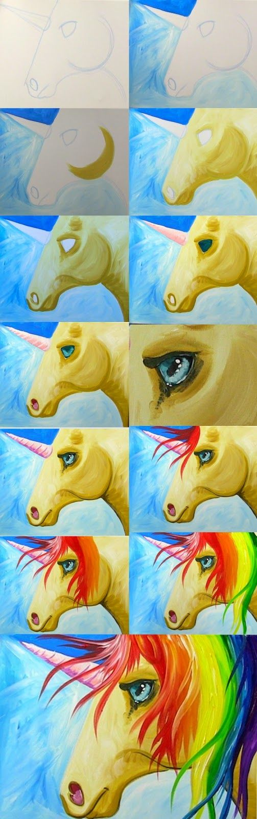 Painting with the Art Sherpa: Easy How to Paint a Rainbow Unicorn Step By Step for the Kid in all of us! #diy More Unicorn how to www.hartparty.com