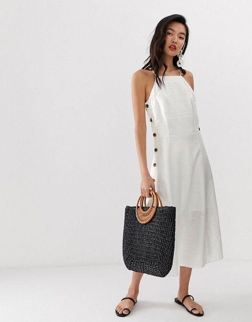 0b936c29b2 Whistles Nina linen button apron midi dress in 2019