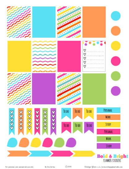 Bold & Bright Planner Stickers | For Personal Use only. | Sized for Erin Condren Life Planners and other Week At A Glance type planners.