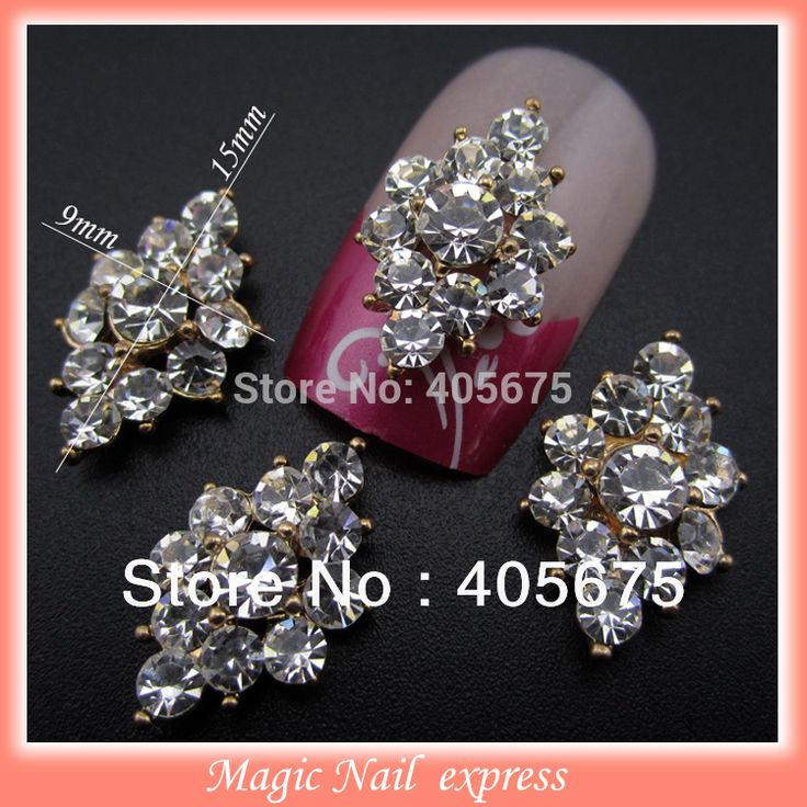 YNB377 rhinestones Llenos del metal 3d aleación de oro nail art puntas de la decoración de la joyería del clavo de DIY de los pernos prisioneros arcos calcomanía 10 unids