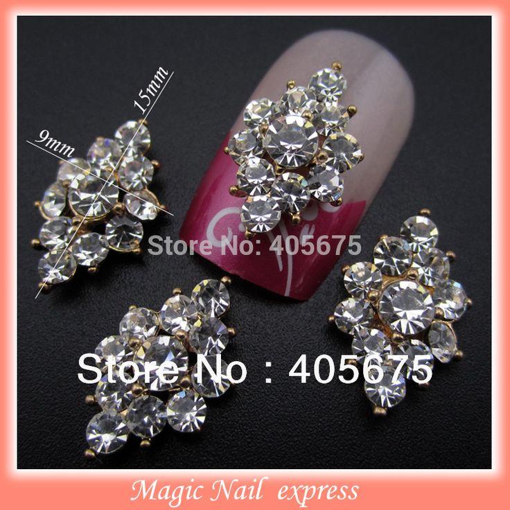 YNB377 전체 모조 다이아몬드 3d 금속 합금 네일 장식 네일 보석 DIY 스터드 골드 도금 네일 아트 팁 활 데칼 10 개