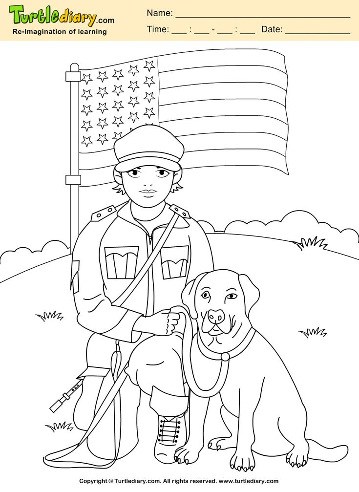 Soldier With Dog Coloring Sheet Memorialday Kids Artsandcrafts Turtlediary