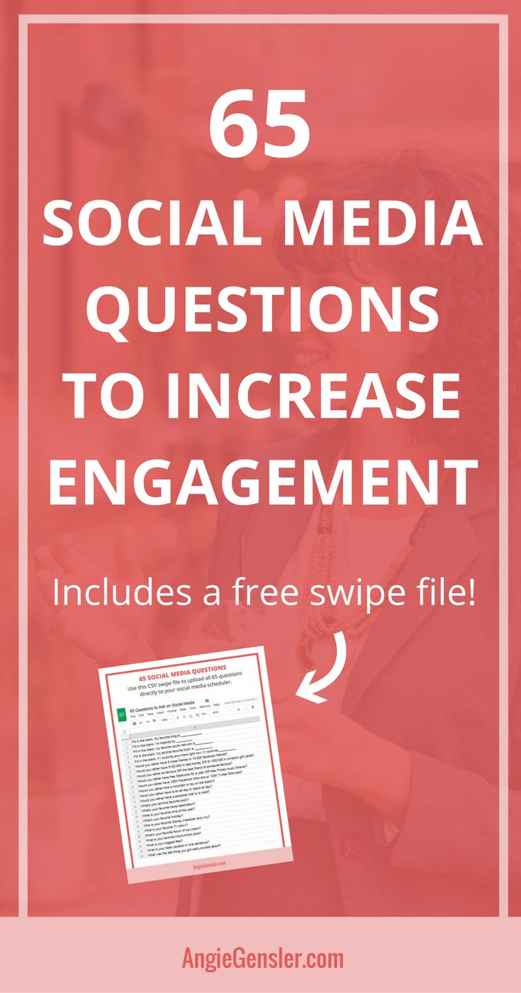 Asking questions on social media is a great way to engage your audience. Here are 65 social media questions you can ask to increase engagement. #socialmedia #socialmediatips #socialmediamarketing via @angiegensler