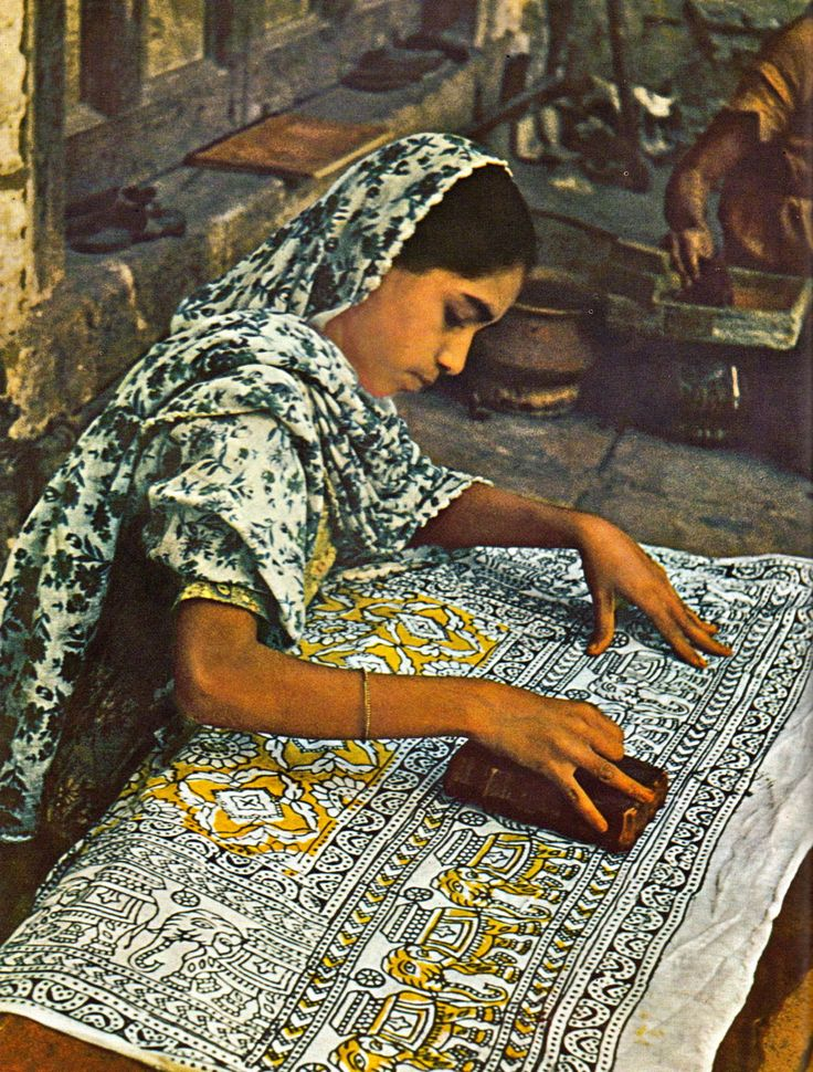Block printing, in India ___ L'Inde par Joe David Brown, et les éditeurs de Life, 1962