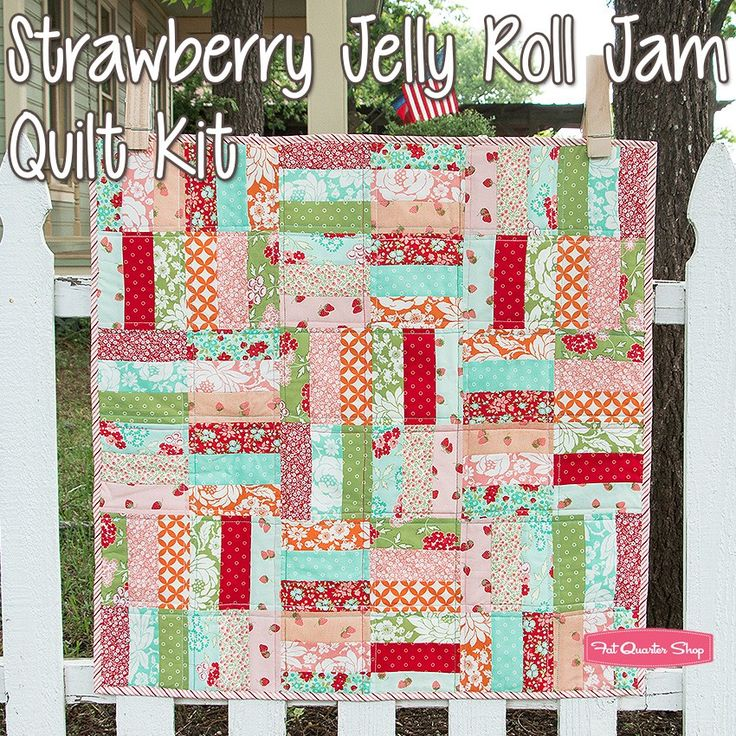 Strawberry Jelly Roll Jam Quilt Kitfeaturing Hello Darling