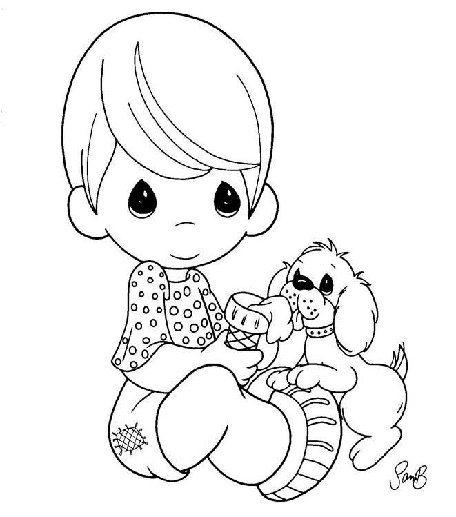 Little Boy Sitting And Puppy See More Dog Coloring Pages