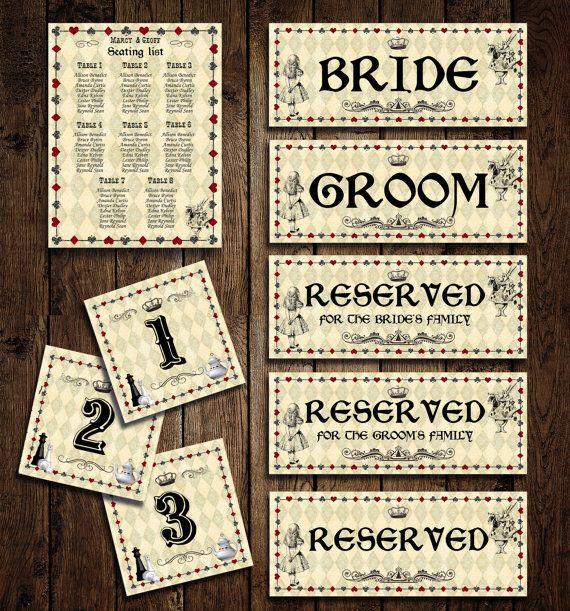 PRINTABLE Alice in Wonderland Wedding Seating Chart DIY – Table Number, Seating List, Bride/Groom Chair Sign, Reserved - Digital File, DIY