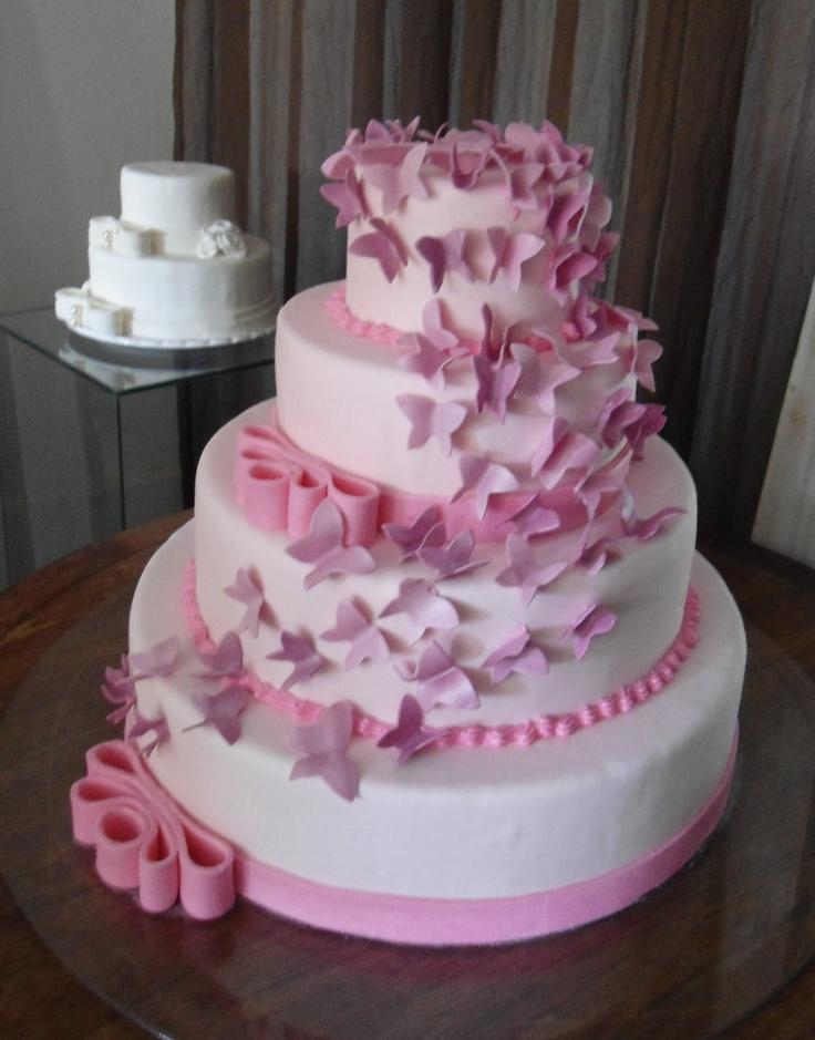 bolo 15 anos de borboletas | comemore bolos decorados: Bolo 15 anos com borboletas