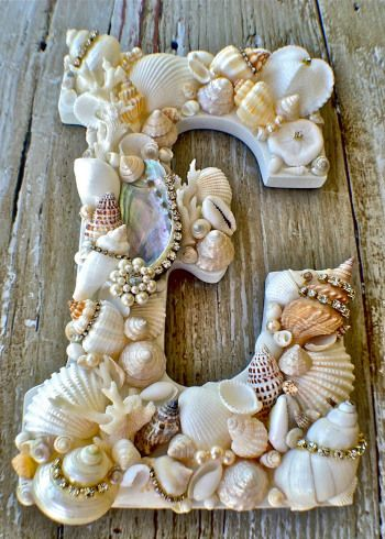This Shell Monogram featuring rhinestone trim made it into our DIY roundup! Click to find out how to make it!