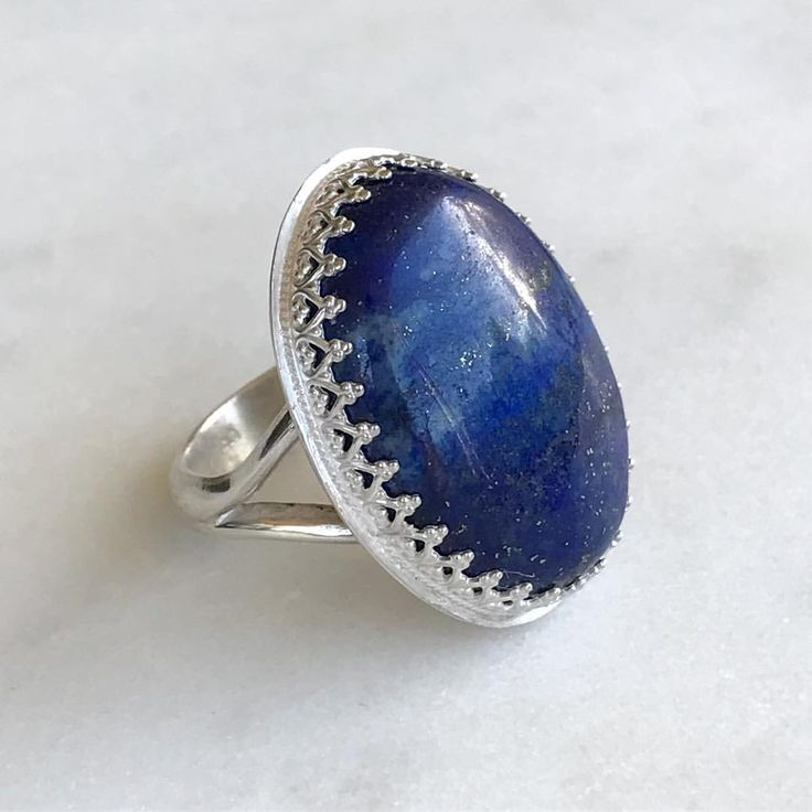 """61 Likes, 3 Comments - MARINA SAKER JEWELLERY (@marinasakerjewellery) on Instagram: """"Lapis Lazuli Statement Ring in Sterling Silver 🌟 Oh how I love this gemstone 💙"""""""