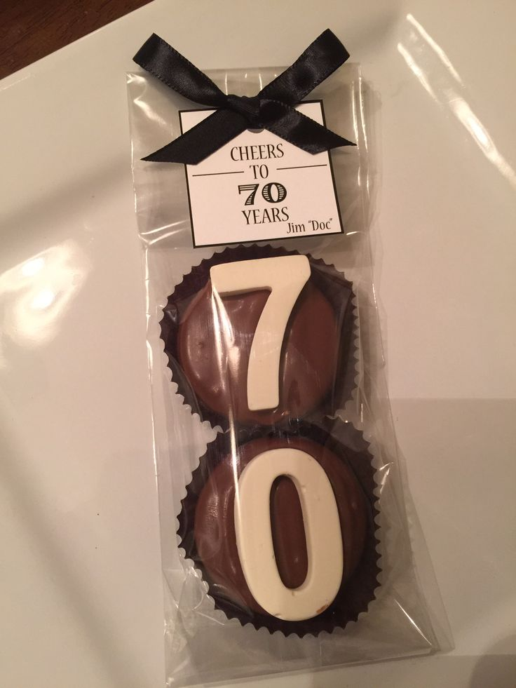 """""""Cheers to 70 Years""""....Milk Chocolate Dipped Oreo Cookie Favors. Seventy Years Old... Birthday Party Candy... Table Setting Ideas...70th Favors www.rosebudchocolates.com"""