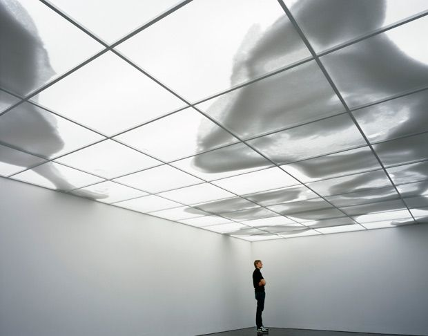 """Continent-Cloud"""", by Rivane Neuenschwander, is an illuminated ceiling on which beans are pushed around by intermittently placed fans, and the roof of the gallery morphs into moving landmasses or shapes."""