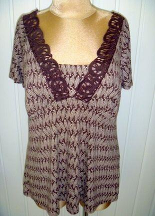 Kup mój przedmiot na #vintedpl http://www.vinted.pl/damska-odziez/bluzki-z-krotkimi-rekawami/9880968-brazowo-bezowa-bluzka-w-liscie-z-koronkowym-dekoltem