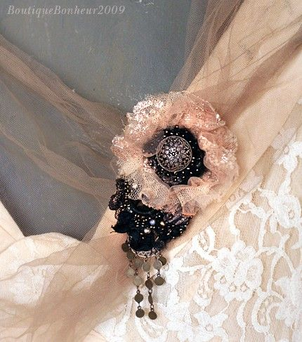 Fefe  delicate hand embroidered brooch/pin by bonheur on Etsy