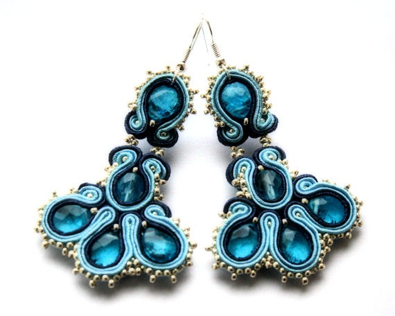 blue rhapsody    soutache earrings  free shipping by KimimilaArt