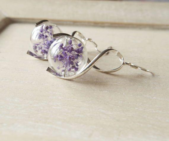 Purple flower earrings Glass terrarium earrings Pressed flower earrings Bridal jewellery Gift for her Real flower Botanical Bridal mom gifts