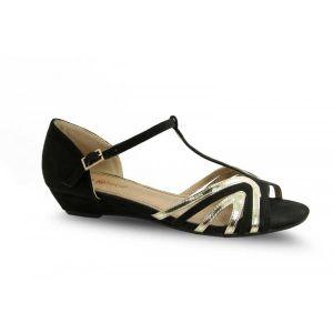 zapato salón negro/oro - Chanar