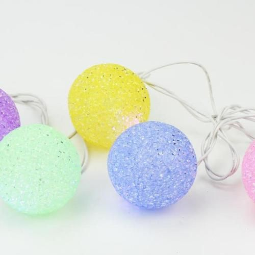 Set of 10 Summer Nights Patio LED Color Changing Sparkle Globe Lights - White Wire