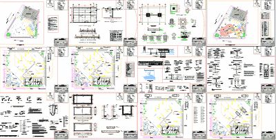 Engineering  et Architecture: Plan d'une Station d'essence complète en dwg