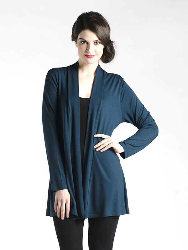 Super Slimmer Open Cardi in Teal - Expertly cut, this simple piece is deceptively well constructed!  With a peplum-like back that doesn't flare out, this cardi is slimming and slenderizing in all the right places.  Long enough to wear with leggings! vailable in Grey, Teal, and Black.