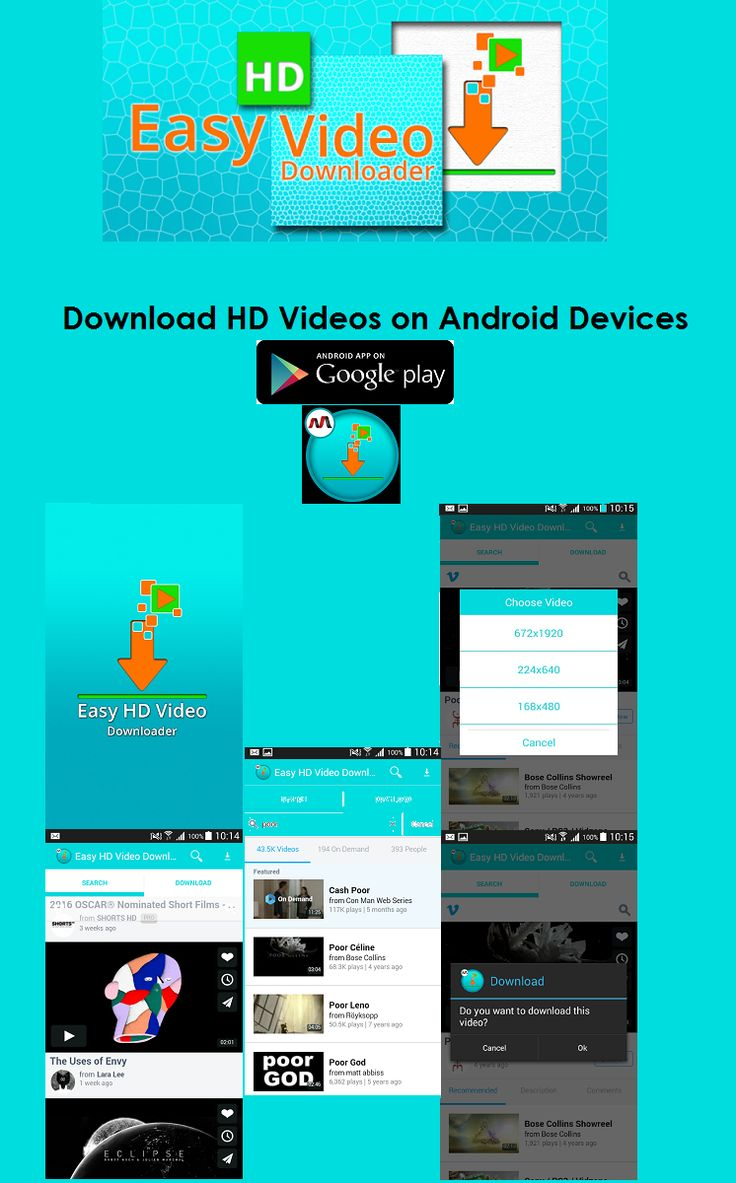 Easy HD Video Downloader is one of the top free video downloader for downloading HD videos directly into your android phones and tablets. This free video downloader allows to download all video formats such as FLV, MP4, AVI, MOV, MPEG, WMV, 3GP, MKV and so on. Download and enjoy your favorite movies, documentary, health and funny videos on your phone or tablet without Internet connection.