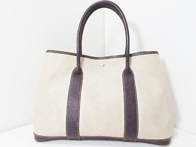 HERMES Garden Party PM Totebag Handbag Toile H Marron Beige Shoulderbag