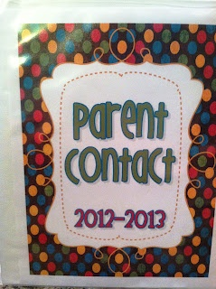 Freebie: Parent Contact Log Binder Cover and Documentation sheet