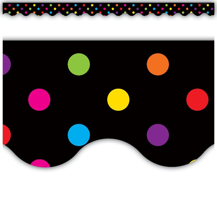 Multicolor Dots on Black Scalloped Border Trim - Each piece is 35 inches long. 12 pieces per pack. 35 feet of trim per pack.