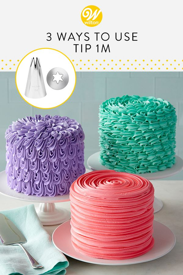 Three Ways To Decorate With Star Decorating Tip 1m Recipe Buttercream Cake Designs Cake Icing Tips Creative Cake Decorating