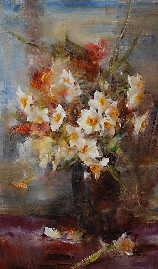 Narcissus Bouquet by Laura Robb Oil ~ 20 x 12