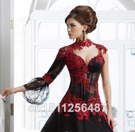 Маскарад высокая шея аппликация A линия черный велюр черный и красный кружево свадебные платья арабский свадьба платья с длинная рукава купить на AliExpress