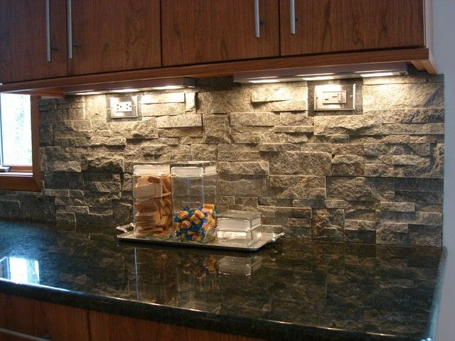 Stacked stone tile backsplash stone tile home design Granite kitchen design ideas