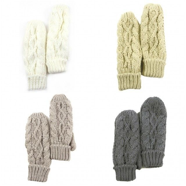 Women Thick Cable Knit Mitts Mittens Full Fleece Lined NWT Available in 4 colors #Simi #Mittens #Everyday