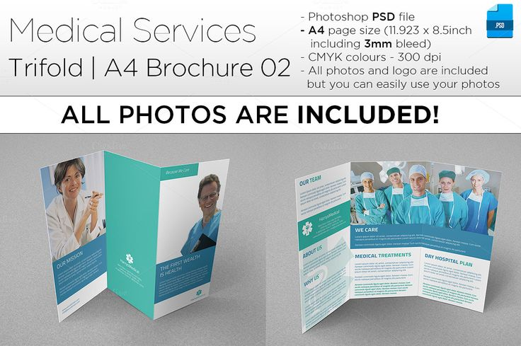Medical A4 Trifold Brochure 02 by Illusiongraphic on @creativemarket