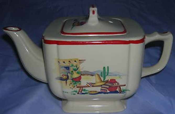 Homer Laughlin Pottery's Riviera teapot in Hacienda decal pattern (Mexican scene) with red border on rim and lid, square shape body with rounded corners, c. 1939-1944, ceramic, USA