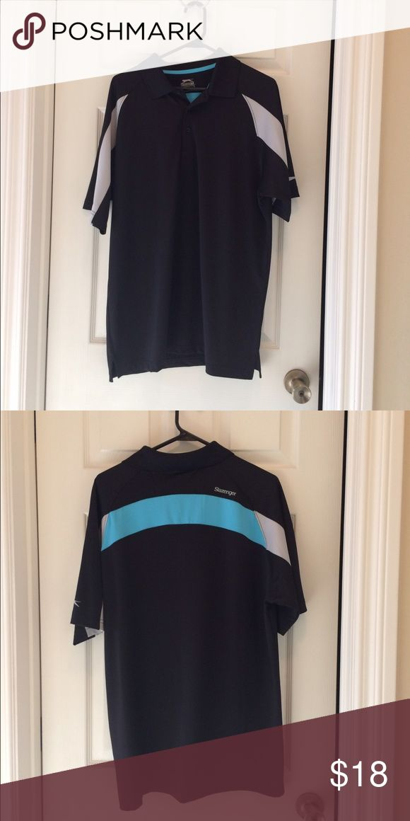 Slazenger Golf shirt NWOT Slazenger Golf shirt NWOT. Color block black, blue and white golf shirt.  Bundle with other items and save! slazenger Shirts Polos