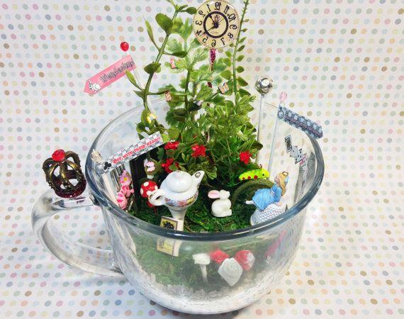 Alice In Wonderland Fairy Garden Miniature Teacup By Carielewyn Alice In Wonderland