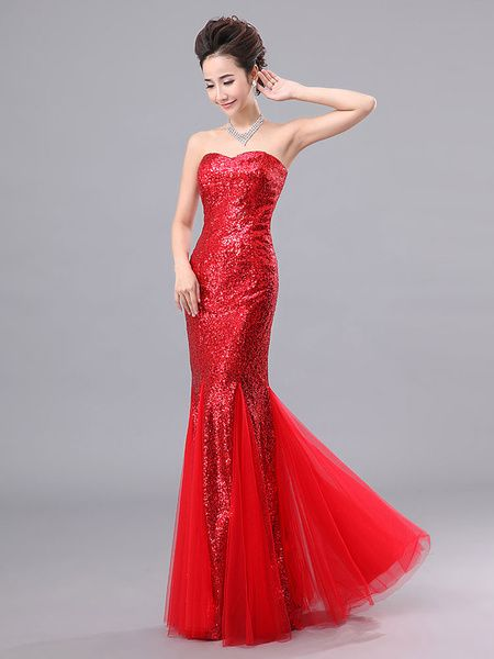 008c660b818a Going to your first valentine's date? Then, choose this Mermaid Prom Dresses  Long Sequin Evening Dress Strapless Formal Gowns.