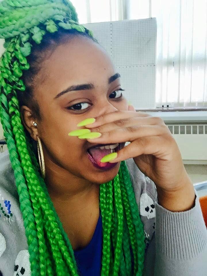 Neon Green Box Braids On Black Women Hairstyles Amp Etc