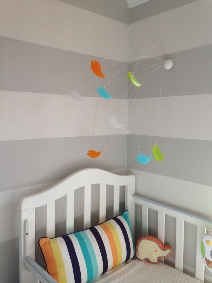 How fun and whimsical is this mobile from @Boon?!  Such a great nursery accent. #nurseryBoone Mobiles, Nurseries Colors, Stripes Nurseries, Baby Boys Nurseries, Projects Nurseries, Gray Stripes, Boys Room, Baby Boy Nurseries, White Stripes