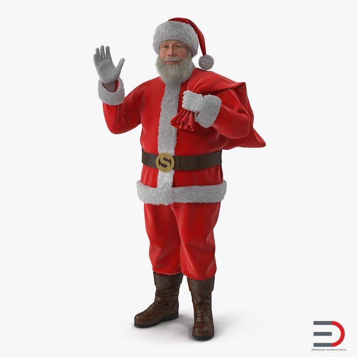 3D Santa Claus Holding Gift Bag with Fur model