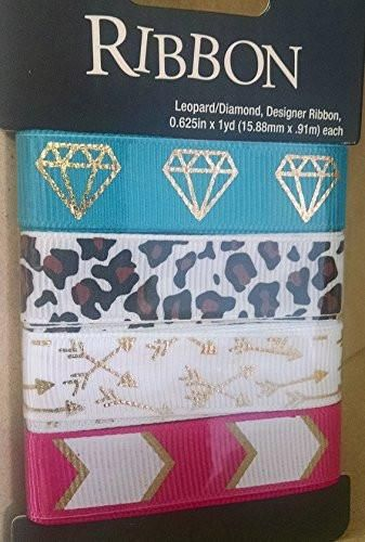 Printed Ribbon Assortment - Turquoise Diamond Designer Ribbon